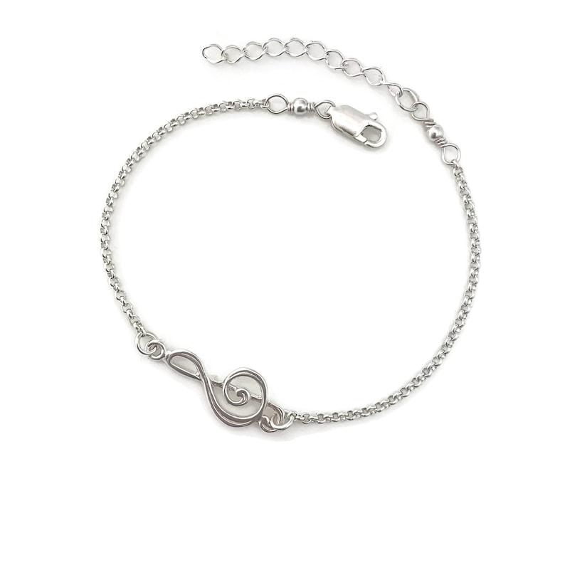 Adjustable Treble Clef Bracelet in Sterling Silver