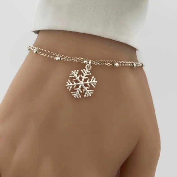 Silver Bridal Bracelet Brides Maid Gift Silver Snow Flake Chain Bracelet with Crystal