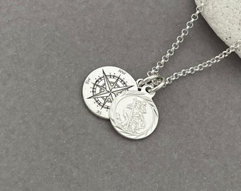 Sterling Silver Travellers Necklace - Protection Necklace, Saint Christopher and Compass Charm Necklace