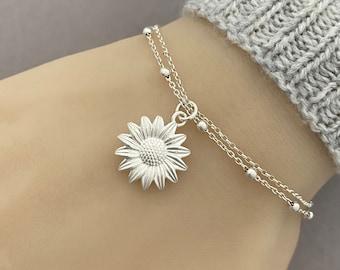 Sterling Silver Sunflower Bracelet, Anklet, Adjustable Sunflower Bracelet