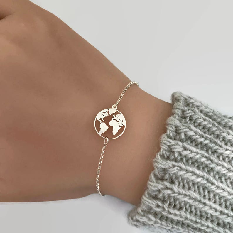 Sterling Silver World Map Bracelet Adjustable bracelet image 0