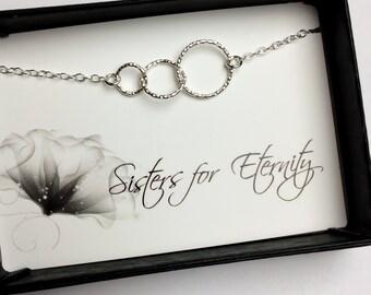 Sisters Bracelet, Three Entwined Tiny Circles Sterling Silver Bracelet - Eternity Bracelet - Sisters for Eternity