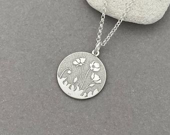 Poppy Necklace in Sterling Silver - Sterling Silver Poppy Necklace