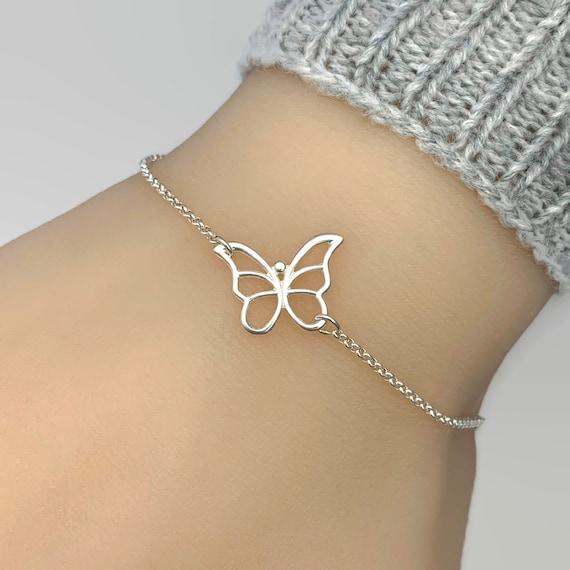 Butterfly Bracelet 925 Sterling Silver Stretch Butterfly Charm Bracelet Sterling Silver Bracelet