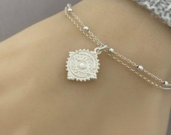 Sterling Silver Lucky Eye Bracelet - Sterling Silver Double Chain Bracelet - Adjustable Talisman Bracelet