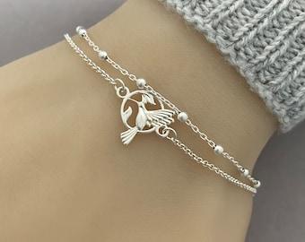 Sterling Silver Double Chain Hummingbird Bracelet