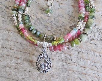 Pink Green Tourmaline Natural Healing Gemstone Sterling Silver Necklace