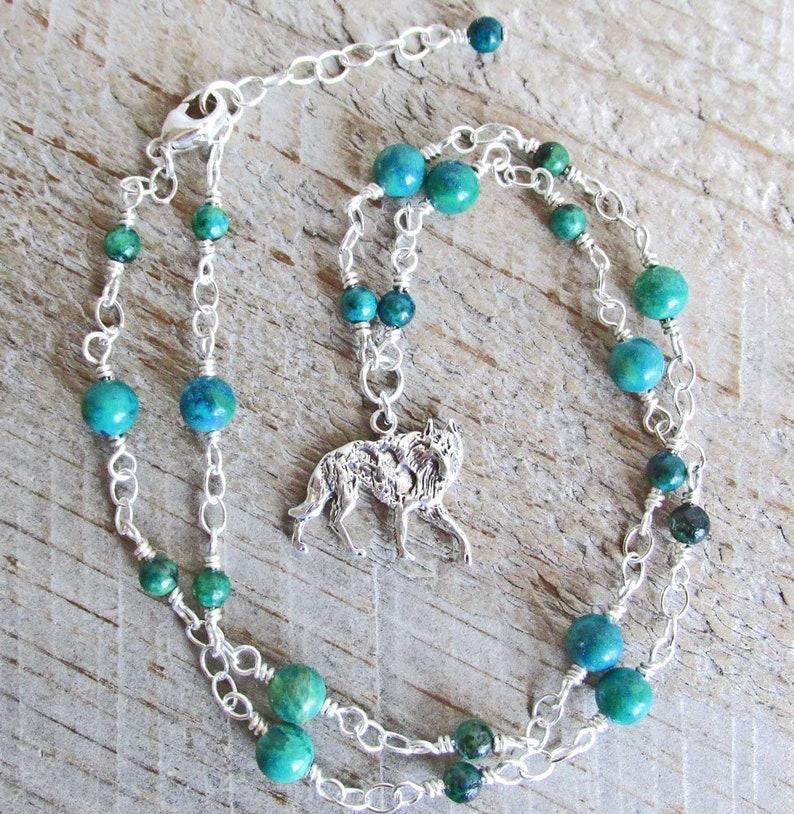Wolf Spirit Animal Necklace, Sterling Silver Wolf Pendant, Blue Green  Chrysocolla Gemstones, Wolf Animal Totem, Gemstone Healing Necklace