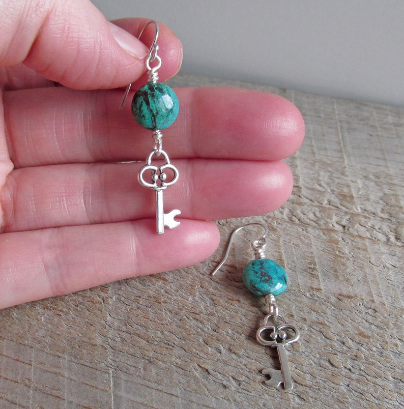 Key Charm Healing Natural Gemstone Earrings Gift for Her Silver Blue Green Chrysocolla Silver Key Earrings Gift Under 40 Boho Earrings