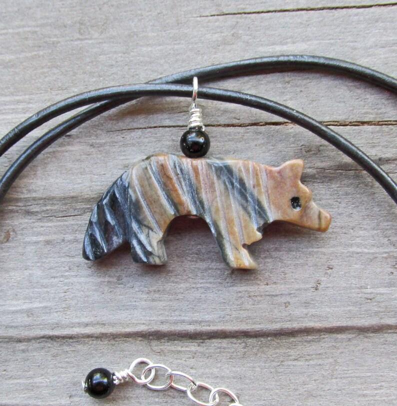Wolf Spirit Animal Necklace, Wolf Power Animal Necklace, Animal Totem,  Wildlife, Carved Stone Wolf Pendant, Natural Gemstone Pendant, Tribal