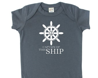 Captain of this Ship Silhouette Baby Bodysuit