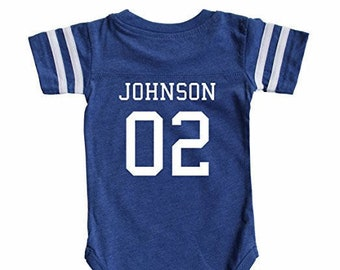 Custom Cotton Football Sport Jersey Baby Bodysuit Personalized with Name    Number-Back Only 7b5f32b45