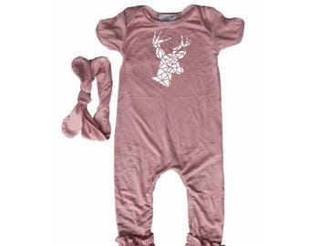 6873a975407 Origami Deer Baby Ruffle Romper with Matching Headband-baby gift