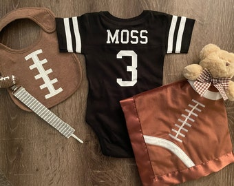 Custom Cotton Football Sport Jersey Baby Bodysuit Personalized with Name & Number-BACK Only- Baby Gift, Sports Gift, Football jerseys