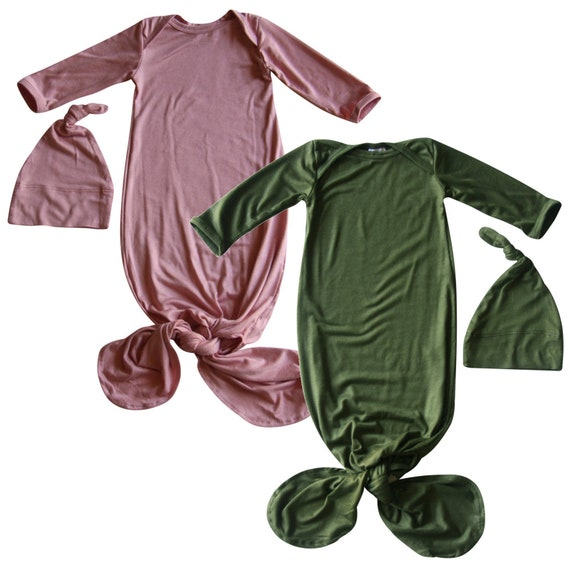 Boys Girls First Outfit Rocket Bug Plain Silky Knotted Baby Gown with Knotted Hat Unisex Infant Sleeper-Newborn Gift