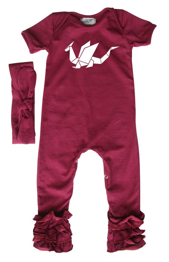 Rocket Bug Origami Dragon Baby Romper With Matching Headband//Hat