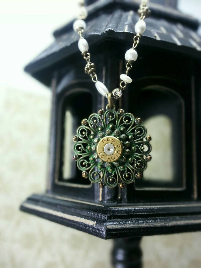 Edina Bullet Jewelry Patina Medallion with Pearls and Bling 45 image 0