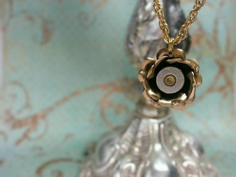Amy Gold Rose 38 Special Bullet Jewelry Bullet Necklace Lilly image 0