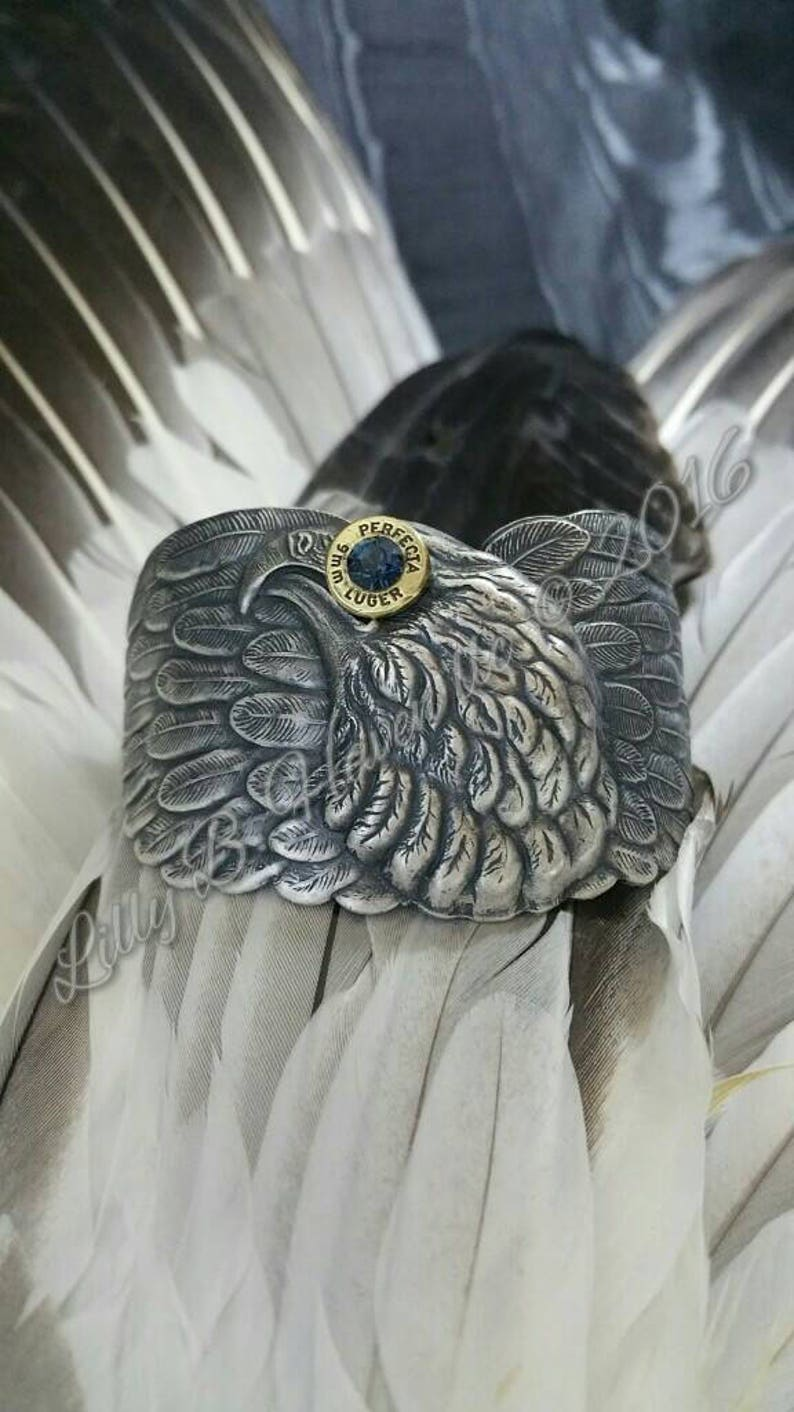 Betsy Bullet Jewelry Bullet Bracelet 9mm Eagle Cuff Lilly B image 0