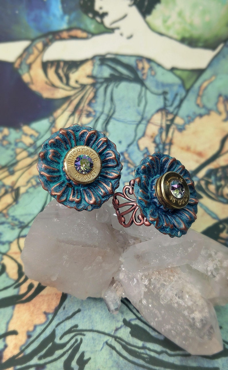 Delphine Patina Copper Flower 45 Colt Bullet Jewelry Bullet image 0