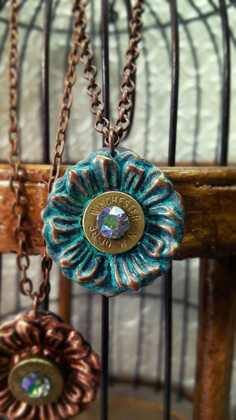 Delphine Bullet Jewelry Bullet Necklace Copper Patina Flower image 0