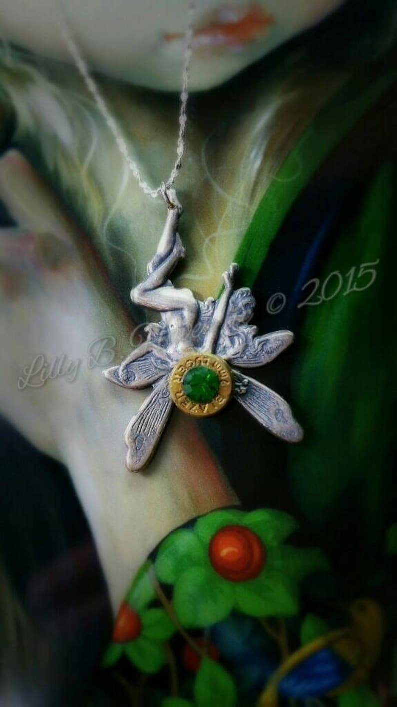 Tink by her Toes Bullet Jewelry Bullet Necklace Fairy Necklace image 0