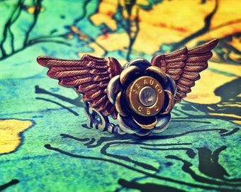 Esme Winged Bullet Jewelry Bullet Rose Ring Lilly B Haven Original