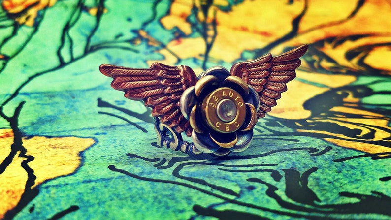 Esme Winged Bullet Jewelry Bullet Rose Ring Lilly B Haven image 0