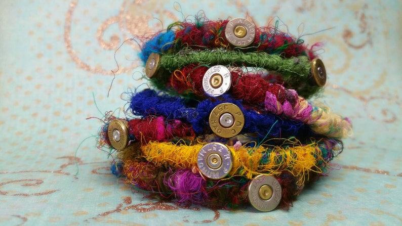 Trinity Bullet Jewelry Bullet Bracelet 3 Bullet Sari Wrapped image 0