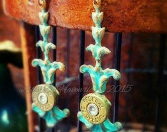 Abigail Bullet Jewelry Bullet Earrings Patina Starline 357 Magnum