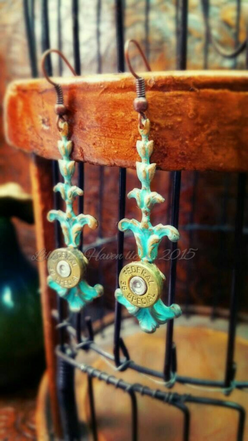 Abigail Bullet Jewelry Bullet Earrings Patina Starline 357 image 0