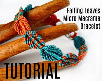 Micro Macrame Tutorial - Falling Leaves Bracelet - Pattern - Beaded Macrame - Jewelry Making - DIY