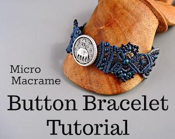 Micro Macrame Button Bracelet Tutorial - Macrame Necklace - DIY - Pattern - Jewelry Making Instruction