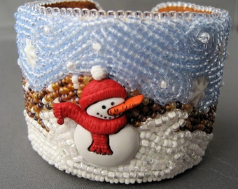 REDUCED Snowman Bead Emboidery Cuff