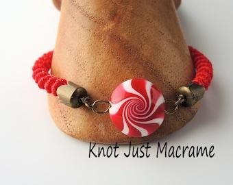 Peppermint Spiral Micro Macrame Bracelet Holiday