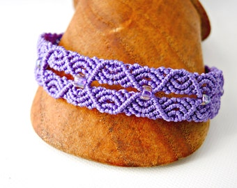 Ripples in Micro Macrame Bracelet in Amethyst - Micro Macrame Bracelet - Purple Bracelet - Original Macrame Design