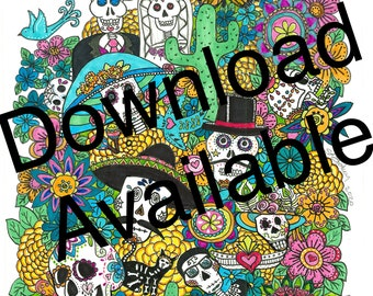 Day of the Dead Sugar Skulls original Doodle Art Download
