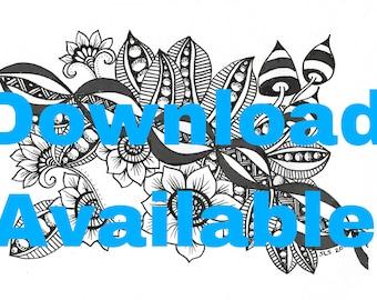 Psychedelic Mushrooms Original Doodle Art Download Flowers