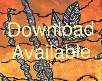 Autumn Leaves Mono Print Doodle Art Download