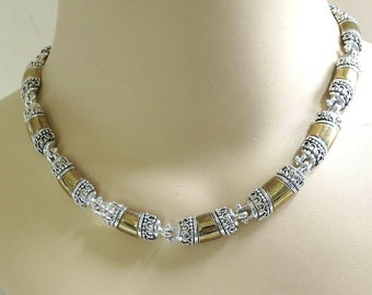 Silver & Gold Tone Necklace and Earrings Vintage Set