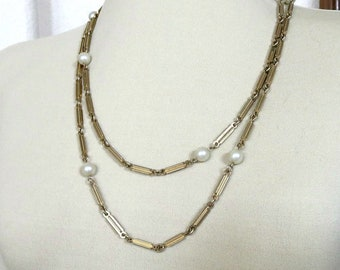 White Glass Pearls Chain Necklace Vintage Flapper Length