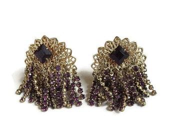 Purple Rhinestone & Chains Dangle Earrings Vintage Cha Cha Waterfall style