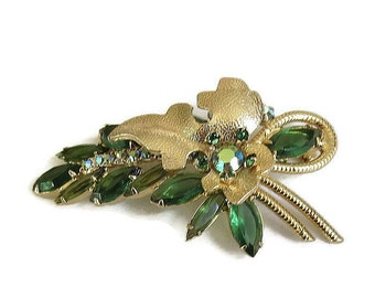 Verified Juliana D&E Green Rhinestones and Gold Tone Leaf Brooch Vintage with Extra Earring