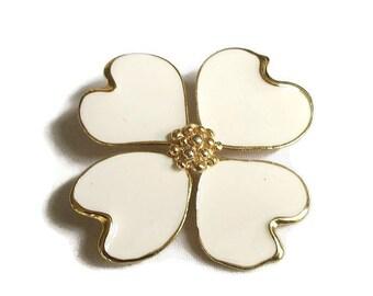 Vintage Poured Cream Enamel Dogwood Flower Brooch