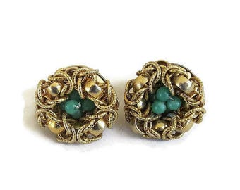 Gold Glitter Thread & Green Beads Bird Nest Earrings Vintage Signed Japan