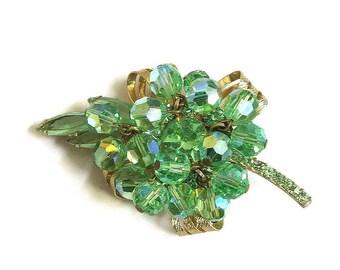 Verified JULIANA D&E Green Aurora Borealis Crystal Dangles and Rhinestone Brooch Vintage