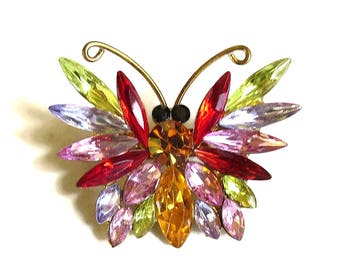 Multi-Color Rhinestone Butterfly Brooch Vintage