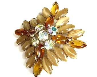 Topaz and Taupe Givre Rhinestone Brooch with Aurora Borealis Juliana style Vintage