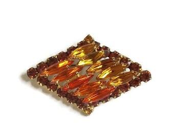 Juliana Orange and Golden Topaz Rhinestone Brooch Vintage Verified