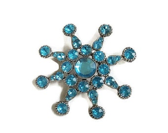 Blue Rhinestone Star Brooch Vintage Large